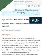 Hypochlorous Acid A Review