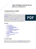 POSSIBLE SOURCES OF ORGANISATIONAL CONFLICT