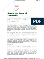 Stop in the Name of Leadership
