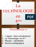 01 PRESENTATION technologie 4eme