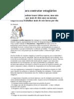 As regras para contratar estagiários