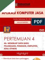 4a- Membuat data baru pelanggan, Pemasok, Employee, atau Others