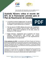 NOTA DE PRENSA - Navarro critica el recorte del 65% en la financiación del Plan de Reactivación de Canarias-18092020