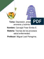 depresion, ansiedad, anorexia y bulimia.