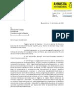 Carta de Amnistía Internacional al Presidente