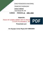 Ensayo de investigacion directa sobre la educacion en tiempos de COVID-19 EN Honduras