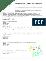 addition subtraction strategies 2