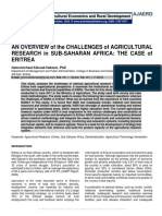 AN OVERVIEW of the CHALLENGES of AGRICULTURAL RESEARCH in SUB-SAHARAN AFRICA