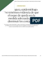 """Coronavirus _ Javier Segura, epidemiólogo_ """"No tenemos evidencia de que el toque de queda sea la medida adecuada para disminuir los contagios"""" - El Salto - Edición General"""