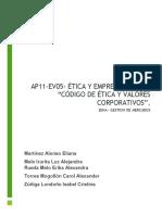 """AP11-EV05- ÉTICA Y EMPRENDIMIENTO """"CÓDIGO DE ÉTICA Y VALORES CORPORATIVOS""""."""