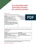 Avantaje și dezavantaje pentru următoarele stiluri de predare.docx