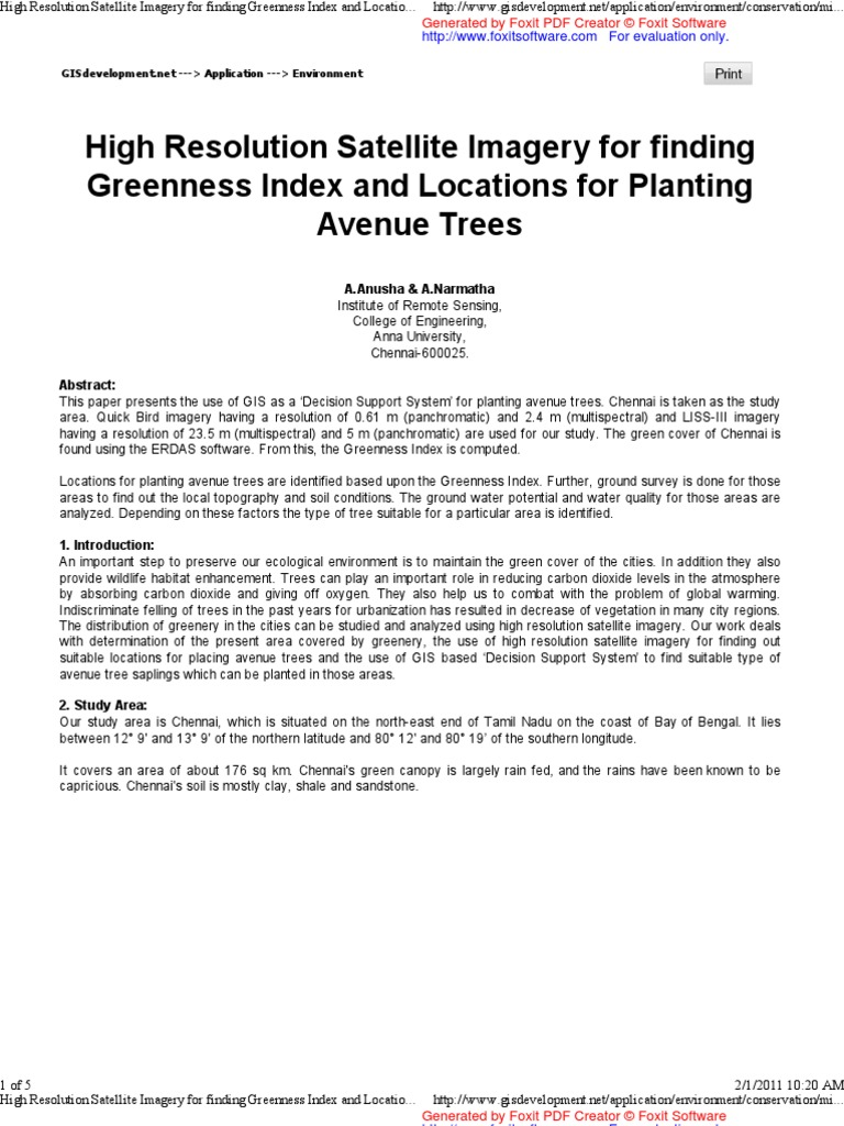 High Resolution Satellite Imagery for finding Greenness