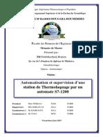 Automatisation et supervision d'une station de Thermolaquage par un automate S7-1200 complet
