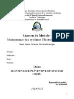 Examen Maintenance des systèmes électromécaniques (1)