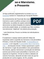 (Vainer-Alejandro) Psicanálise e Marxismo. Passado e Presente (artigo)