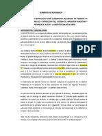 TÉRMINOS DE REFERENCIA PARA CONTRATACION DE ESPECIALISTA OBRA HUACATINA