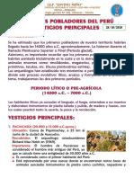 PRIMEROS POBLADORES DEL PERÚ - VESTIGIOS PRINCIPALES