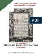 1 Noviembre. Fiesta de Todos Los Santos. Propio y Ordinario de la santa misa