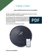 Tesvor- S6 Saug und Wischroboter mit Lasernavigation