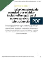 Comunidad de Madrid _ Críticas a la Consejería de Sanidad por olvidar incluir el bengalí en el nuevo servicio de teletraducción - El Salto - Edición General