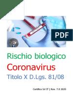 Rischio biologico Coronavirus Titolo X D.Lgs. 81.2008 Rev. 7.0 2020 Preview