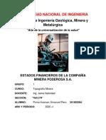 Estados Financieros de la Compañia Minera Poderosa S.A.