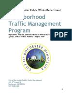 City of Rochester Public Works Department Neighborhood Traffic Management Program