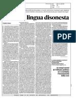 """Il Sole 24 Ore - Recensione de """"La Lingua Disonesta"""" di Edoardo Lombardi Vallauri"""