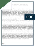ANALISIS DE LA LECTURA DEL LIBRO DE ESPAÑOL.