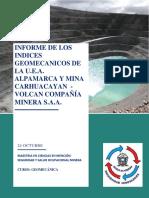 INFORME DE LOS INDICES GEOMECANICOS DE LA UEA ALPAMARCA Y MINA CARHUACAYAN
