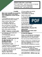 MESSE DES RENTREES _ 06.10.19