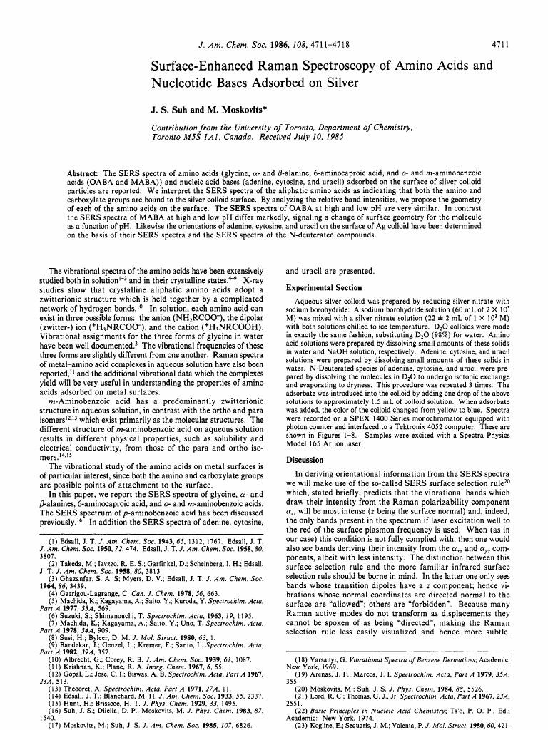 Surface enhanced Raman Spectroscopy of amino acids and