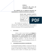 ANULACION DE ACTA DE CONTROL SR. WILSON CALDERON MARTELL  ENERO 2020