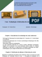 Technologie et fabrication des circuits intégrés - chapitre I