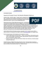 Capacity for President Trump's Visit Reaches Attendance Maximum