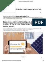 O Retorno do Investimento em Energia Solar (ROI)