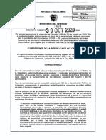 Decreto Prorroga Aislamiento Preventivo Hasta El 1 de Diciembre de 2020. Envia CLorduy