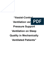 """Assist-Control Ventilation versus Pressure Support Ventilation on Sleep Quality in Mechanically Ventilated Patients"""