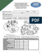 Examen del sexto grado para el segundo bloque del ciclo escolar 2015 – 2016.docx
