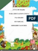 TEMARIO  PARA EXAMEN  DE EDUCACION CIVICA III PARCAIL 5TO GRADO