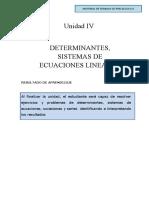 UNIDAD IV DETERMINANTES-SISTEMAS DE ECUACIONES