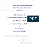 A Lecture Delivered at the Department of Philosophy Gadamer