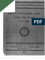 United States Marine Corps Ranks and Grades 1775-1969
