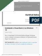 Instalando o Visual Basic 6 no Windows 10