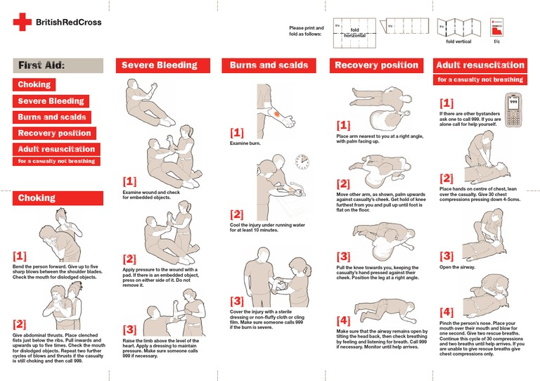 Inventive image with printable pocket first aid guide