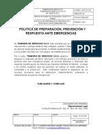 SST-PLT-003 Política de Preparación, Prevención y Respuesta ante Emergencias.docx