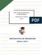 Instructivo Inscripcion I 2011CCHH