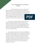 FIRMA DE LA PAZ BENEFICIOS PARA LA ECONOMÃ-A EN COLOMBIA ensayo 2