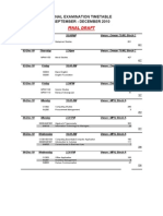 Time Table (Final Examination)
