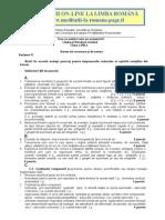 Baremul de rezolvare al subiectelor la limba romana pentru teza cu subiect unic la clasa VIII publicat de MECT